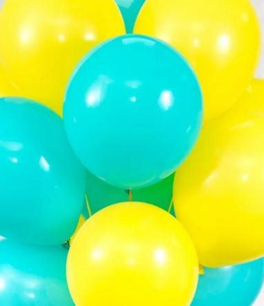 Ассорти бирюзовый и желтый латексных шаров с гелием