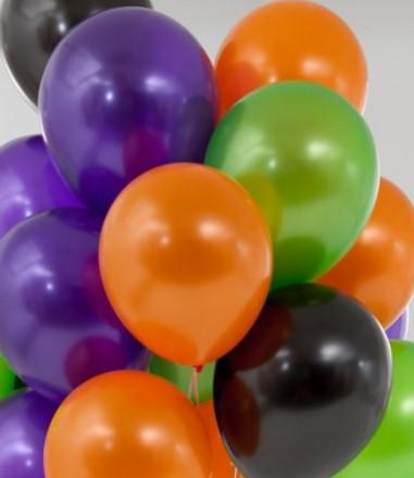 Ассорти фиолетовый металлик, оранжевый металлик, киви металлик, черный металлик латексных шаров с гелием
