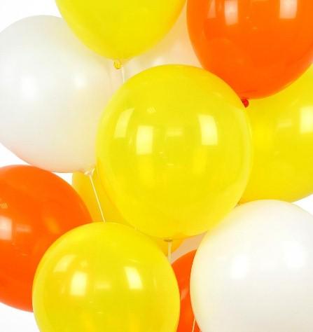 Ассорти белый, желтый, оранжевый латексных шаров с гелием