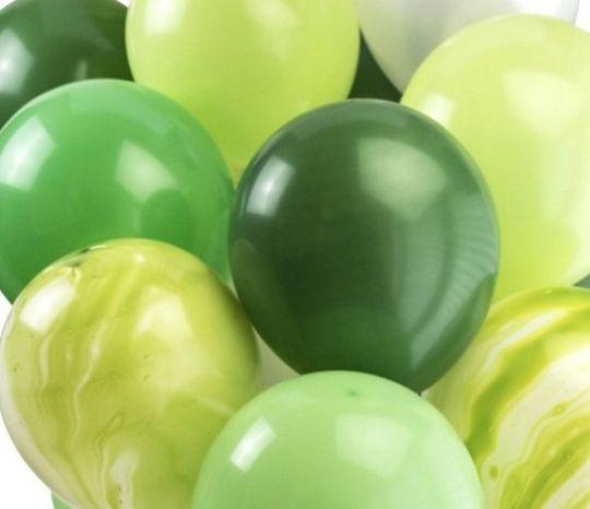 Ассорти зеленый, киви, изумрудный, зеленый агат латексных шаров с гелием