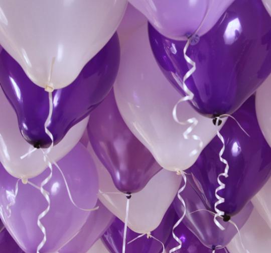 Ассорти лиловый, фиолетовый, фиолетовый металлик, фиолетовый кристалл латексных шаров с гелием