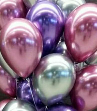 Ассорти хром США серебро, пурпур, клюква латексных шаров с гелием