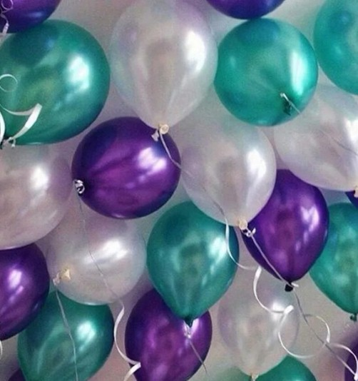 Ассорти фиолетовый металлик, еловый металлик, белый перламутровый латексных шаров с гелием