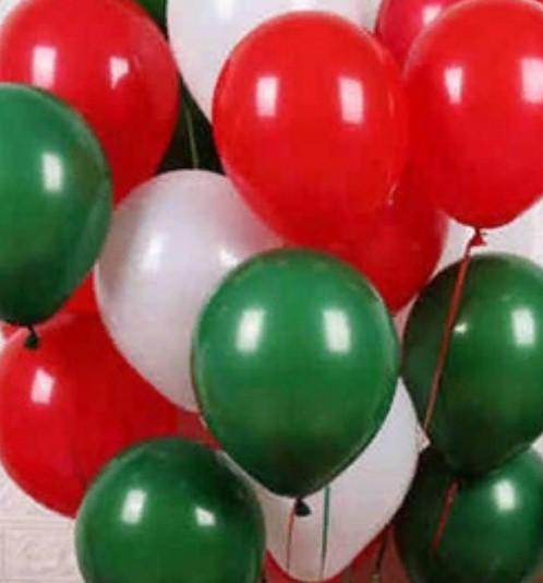 Ассорти красный, белый, зеленый латексных шаров с гелием