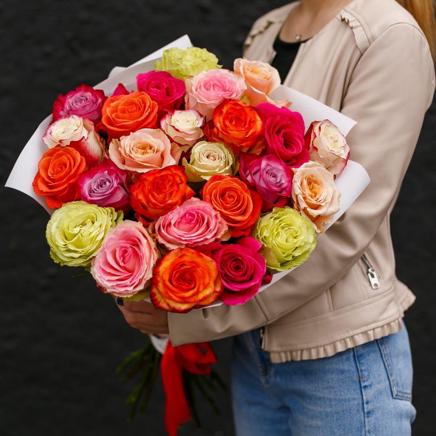 Крупные розы 40 см. микс 25 шт.