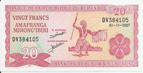 20 франков  Бурунди 2007