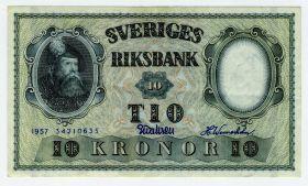 Швеция - 10 крон 1957 г XF