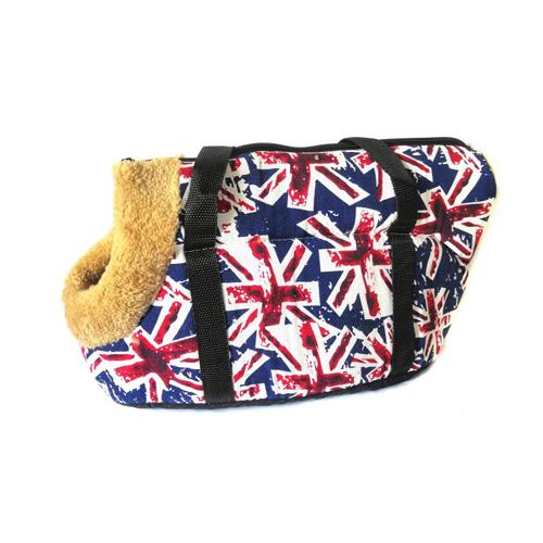 Сумка-переноска для собак с меховой отделкой Британский флаг, Цвет Белый