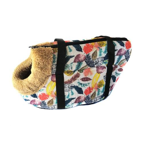 Сумка-переноска для собак с меховой отделкой Листья, Цвет Белый