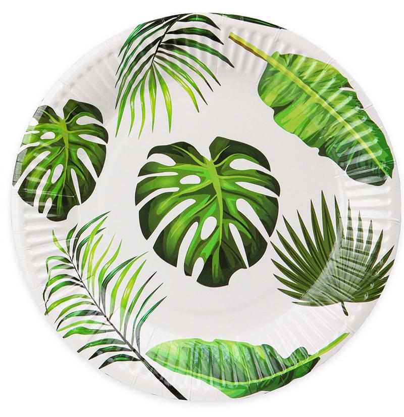 Бумажные тарелки Тропические листья