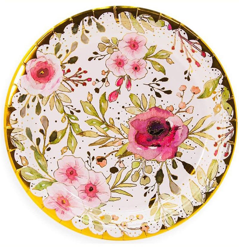 Бумажные тарелки Цветы 6 штук 23 см.
