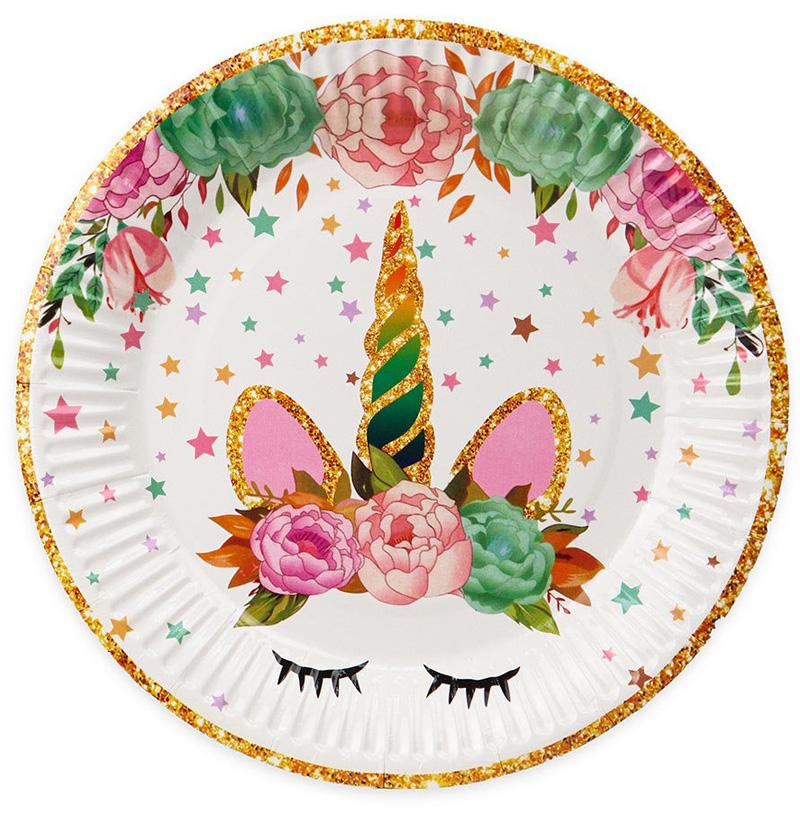 Бумажные тарелки Красивый единорог