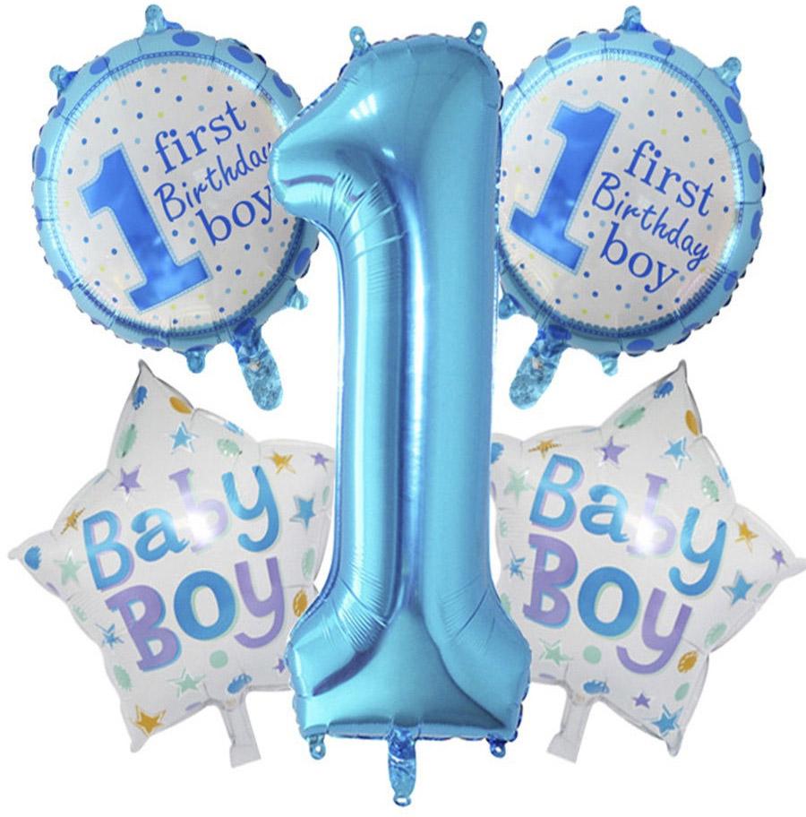 """Набор из фольгированных шаров для декорирования дня рождения мальчика """"1 год"""" 5 шт."""