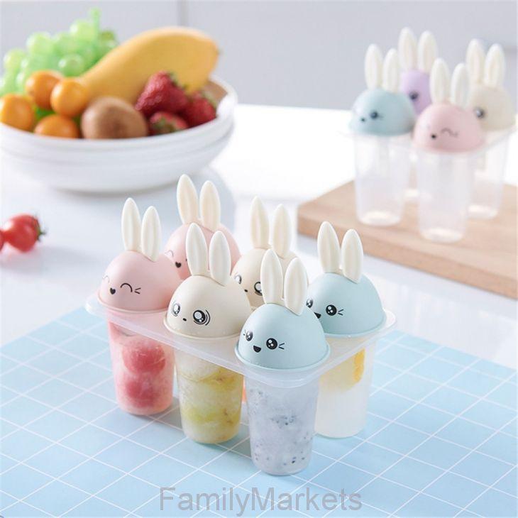 Формы для фруктового льда и мороженого Зайчики, 6 шт