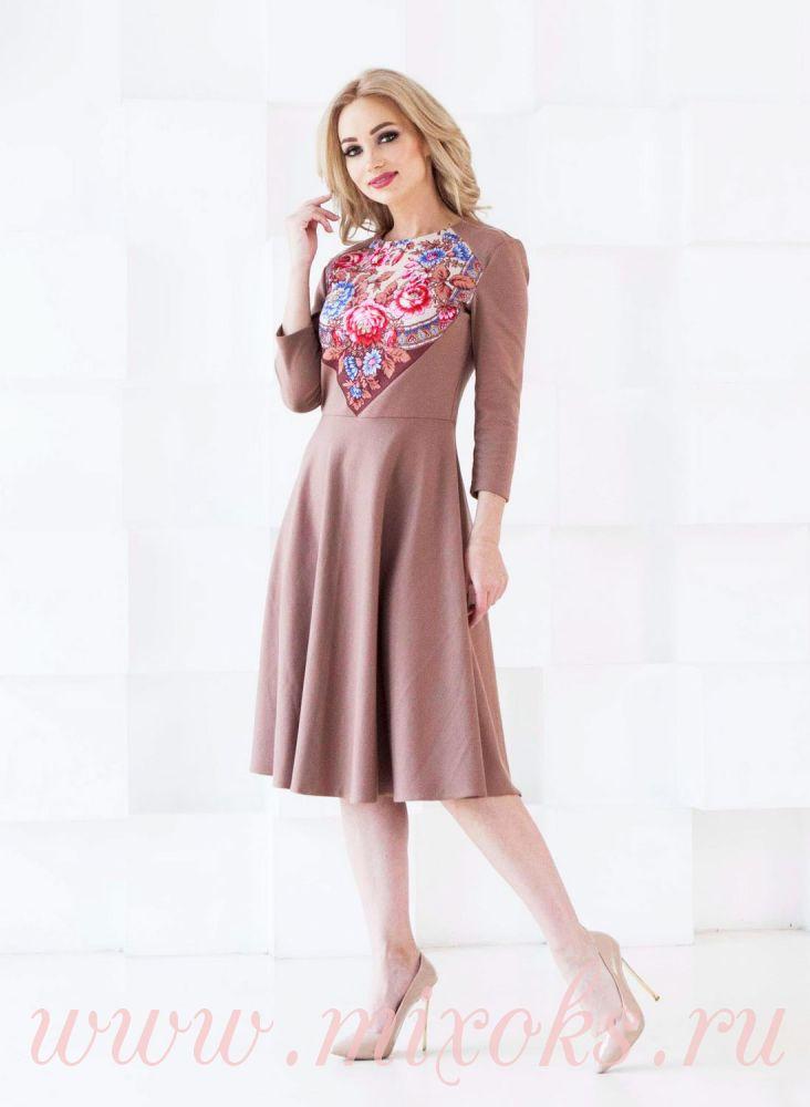 Платье из платка длиною миди