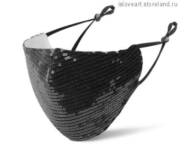 Защитная маска с пайетками, чёрный цвет, размер универсальный.