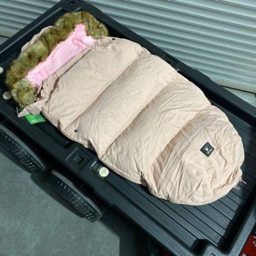 Зимний утеплённый конверт для коляски Ретро розовый