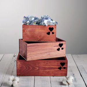 Набор деревянных ящиков 3 в 1 «Сердечко» с лазерной резкой, 30 х 25 х 20 см