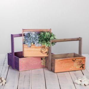 Набор деревянных ящиков 3 в 1 с ручкой «Весна пришла» с печатью, 30 х 25 х 20 см