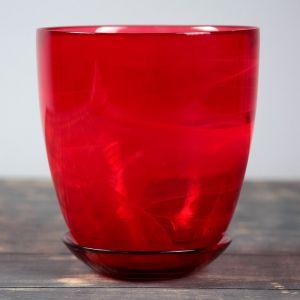 Горшок цветочный с поддоном  №4, алебастр, рубин, 2 л
