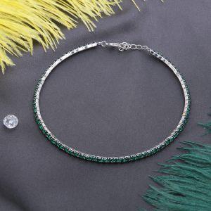 """Колье """"Лёд"""", 1 ряд, цвет зелёный в серебре, L=35 см"""