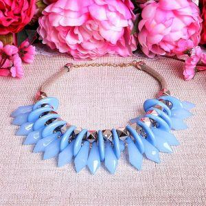 """Колье """"Игольчатое"""" кристаллы, цвет светло-голубой, L=45 см"""