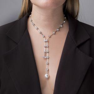 """Кулон с жемчугом """"Цепь"""" импровизация, цвет белый в серебре, 40 см"""