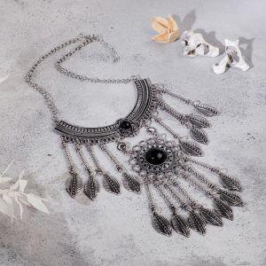 """Колье """"Ажурные перья"""" круг, цвет чёрный в чернённом серебре, L=35 см"""