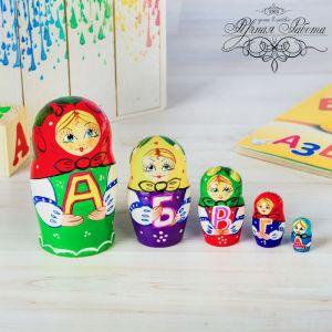 Матрёшка 5-ти кукольная «Азбука», 11 см