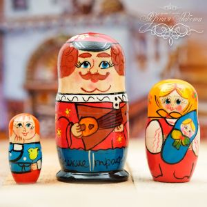 Матрёшка 3-х кукольная «Русские традиции», 11 см