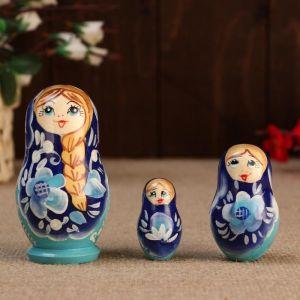 """Матрешка """" Душа России"""",3 кукольная, синий фон, 10 см"""