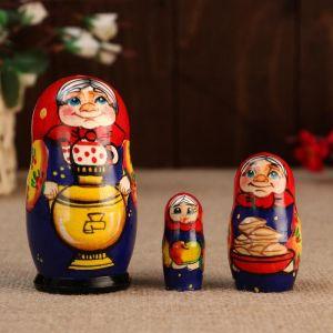 """Матрешка """"Бабуля с самоваром"""", 3 кукольная, 10 см"""
