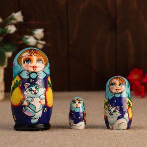 """Матрешка """"Маша с котиком"""", 3 кукольная, 10 см"""