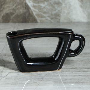 "Ваза ""Чашка"", чёрный цвет, 7 см, керамика"