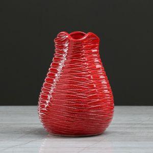 """Ваза настольная """"Бутончик"""", красная, 13 см, керамика"""