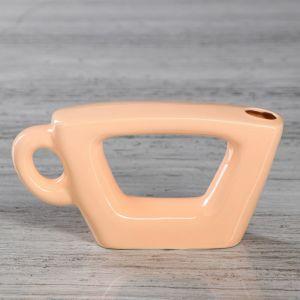 """Ваза настольная """"Чашка"""", персиковый цвет, глазурь, 7 см, керамика"""