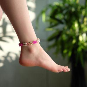 """Браслет на ногу """"Ракушки"""" с бусинами, цвет бело-розовый, L=11см"""
