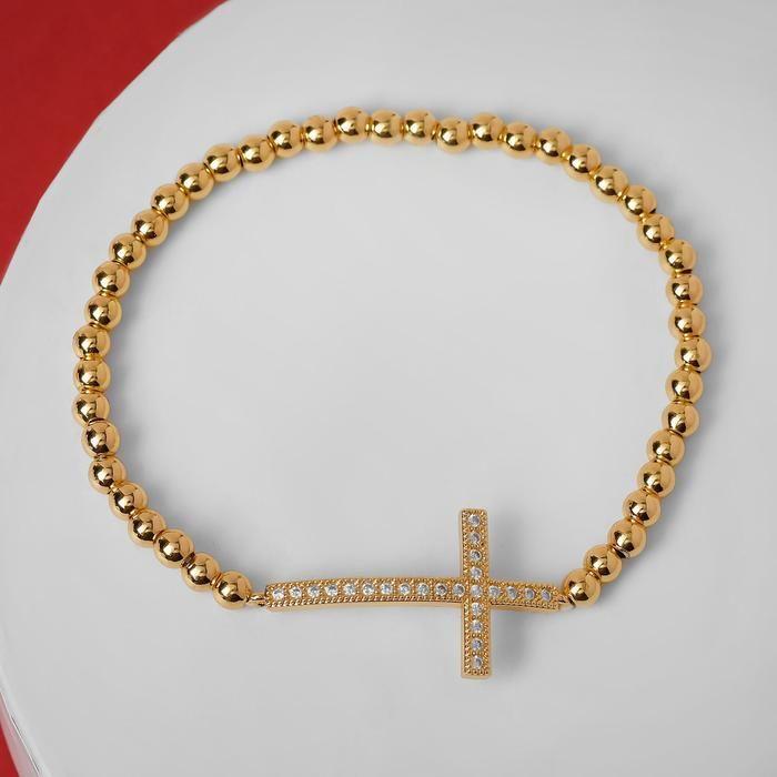 """Браслет со стразами """"Стиль"""" крест, цвет белый в золоте, d=8 см"""