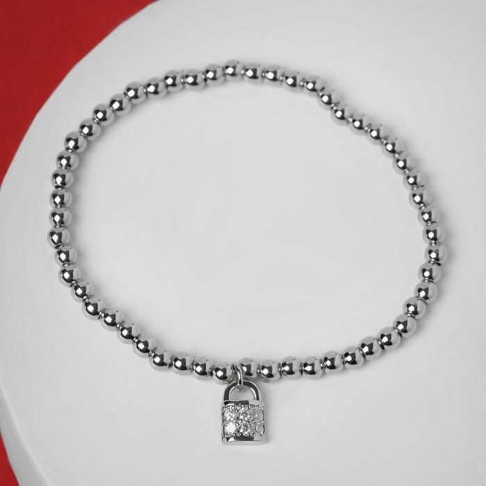 """Браслет со стразами """"Стиль"""" замок, цвет белый в серебре, d=8 см"""