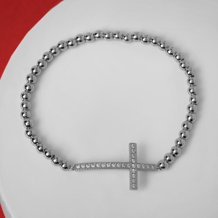 """Браслет со стразами """"Стиль"""" крест, цвет белый в серебре, d=8 см"""
