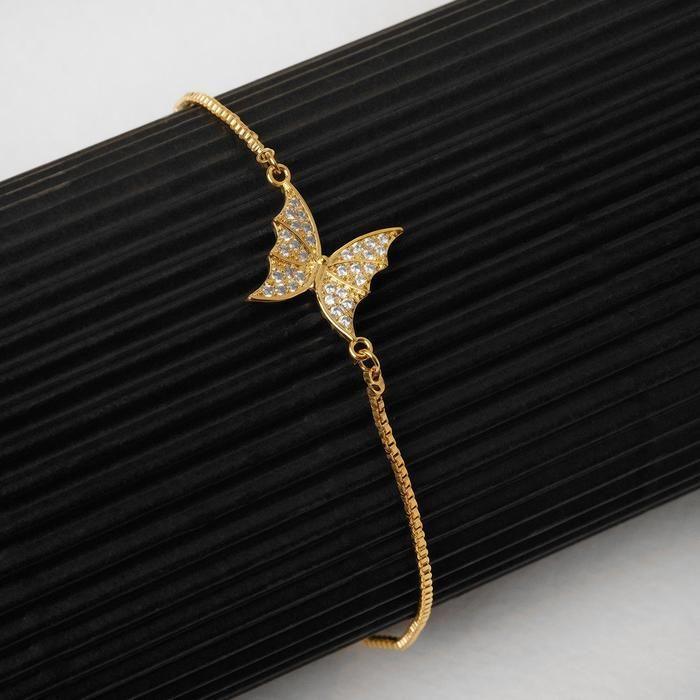 """Браслет со стразами """"Волшебство"""" бабочка, цвет белый в золоте, 11,5 см"""