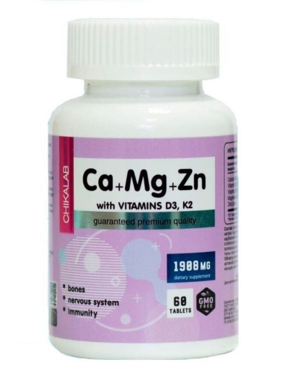 Chikalab Ca+Mg+Zn with VITAMINS D3+K2 60 таб