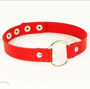 чокер красный с кольцом, эко кожа.