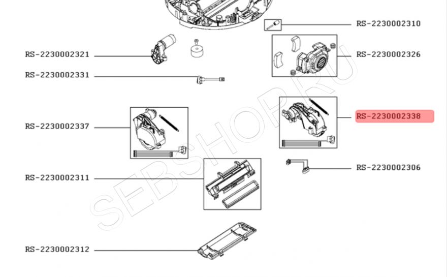 Левое колесо робота-пылесоса TEFAL в сборе с мотором модели RG7765. Артикул RS-2230002338.