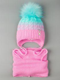 РБ 0021959 Шапка вязаная для девочки с помпоном на завязках, двухцветная, нашивка корона+снуд,лавандово-розовый