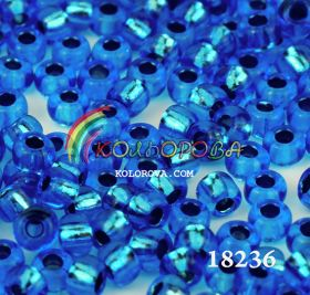 Бисер чешский 18236 голубой прозрачный серебряная линия внутри Preciosa 1 сорт
