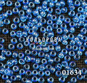 Бисер чешский 01634 голубой прозрачный блестящий Preciosa 1 сорт