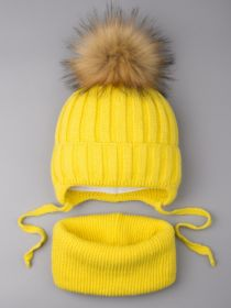 РБ 0024218 Шапка вязаная для мальчика с помпоном на завязках, лапша + снуд, желтый