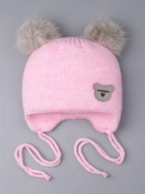 РБ 0024426 Шапка вязаная для девочки с двумя помпонами на завязках, нашивка любимка, розовый