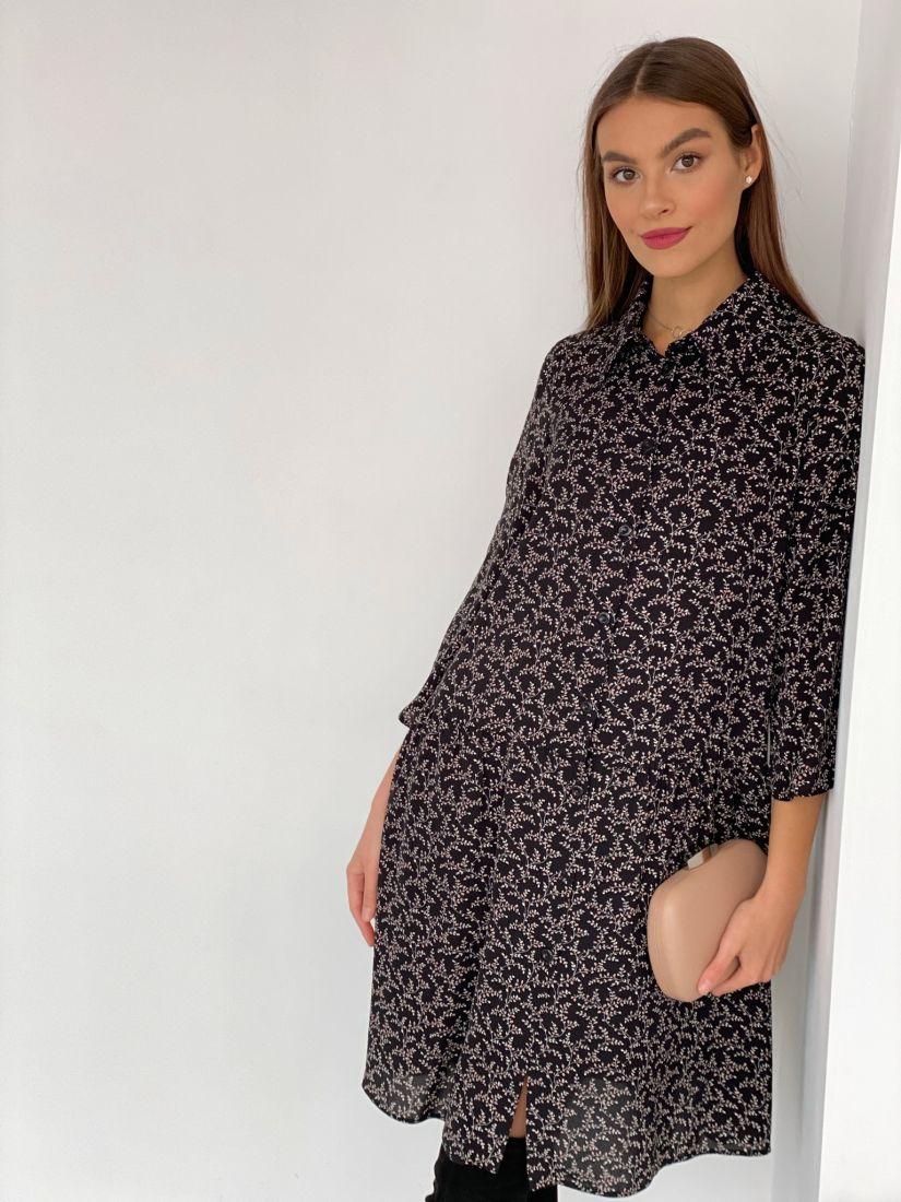 s3632 Платье-рубашка чёрное с веточками (на подкладе)